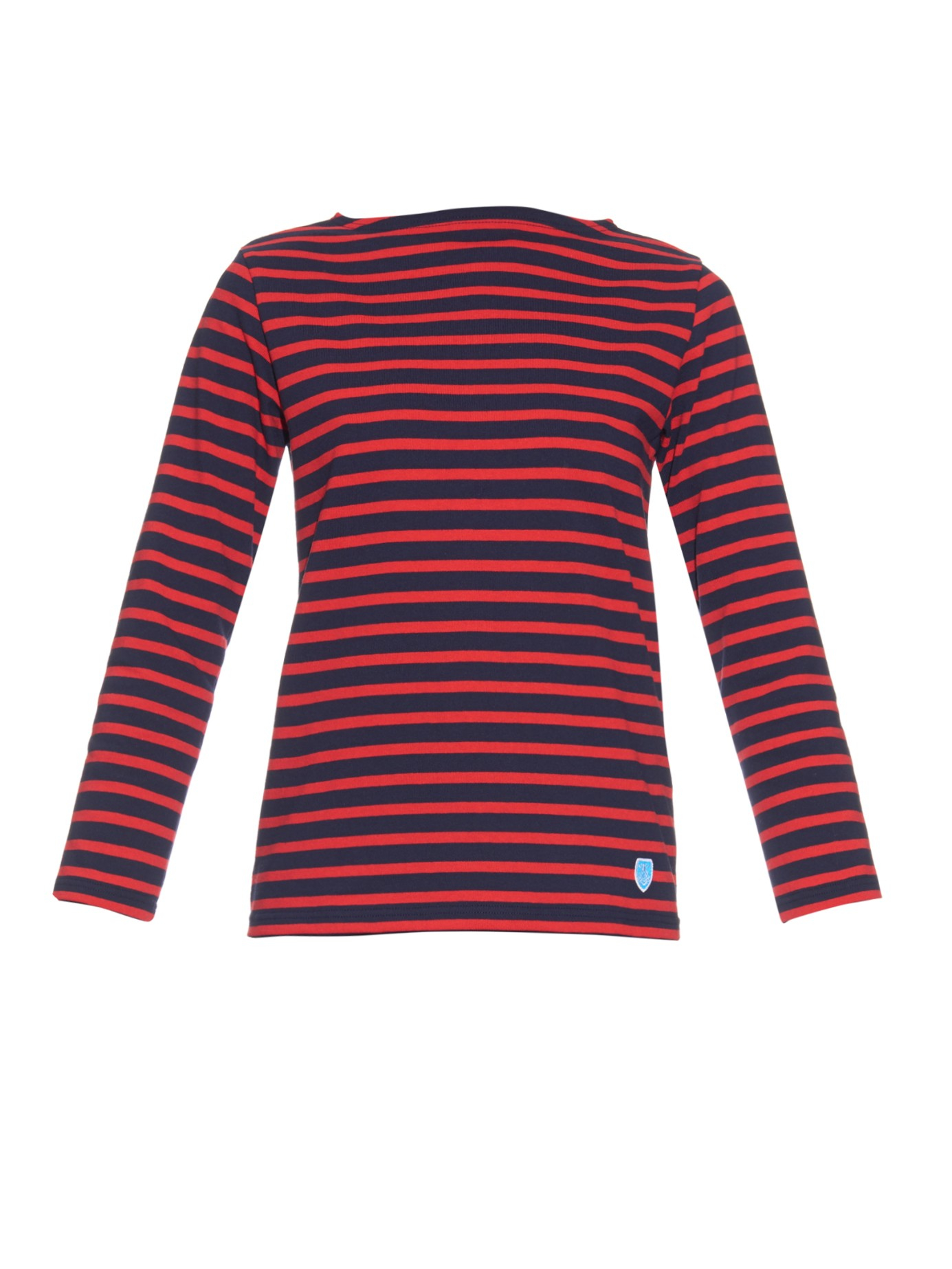 STRIPED LONG SLEEVED TOP Vero Moda - Striped top with long sleeves. - Round neckline. - Rose badge at the front. - Regular fit. - Length: 56 cm in a size S. - The model is cm tall and wearing a size S. 48% Modal, 48% Cotton, 4% Elastane; Machine wash at max 40°C under gentle wash programme.