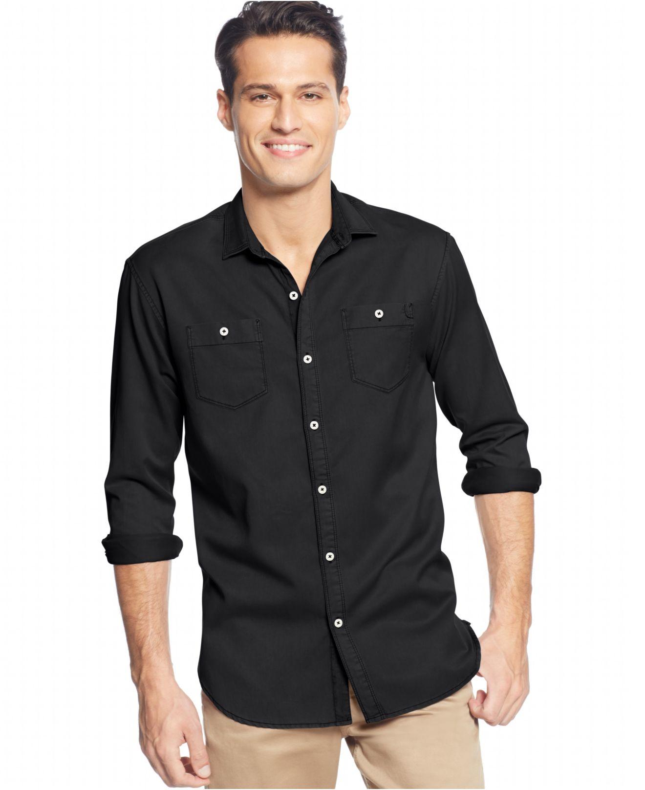 Tommy bahama black long sleeve twill shirt for men lyst for Tommy bahama long sleeve dress shirts