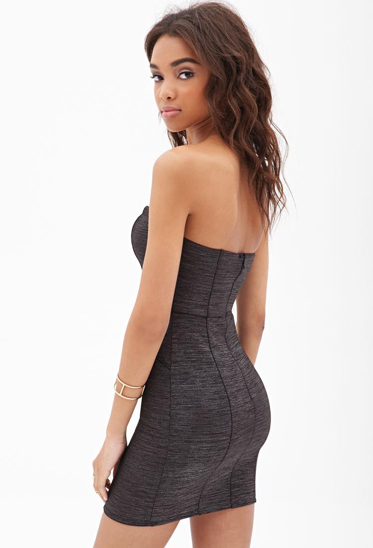 Forever 21 Sweetheart Neckline Strapless Dress in Black | Lyst
