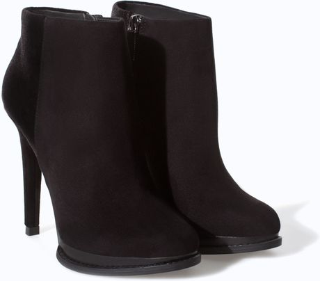 zara high heel ankle boot with platform in black lyst