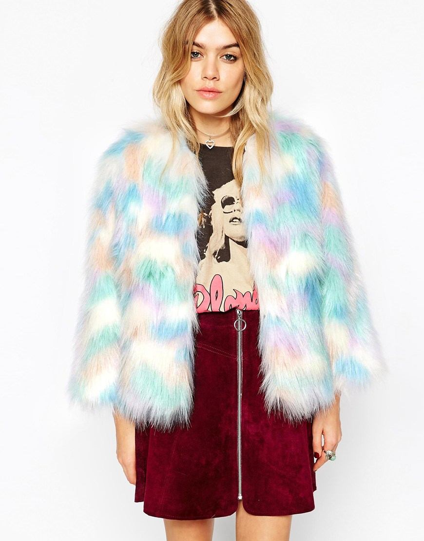 Lyst Asos Cape Jacket In Rainbow Faux Fur In Blue