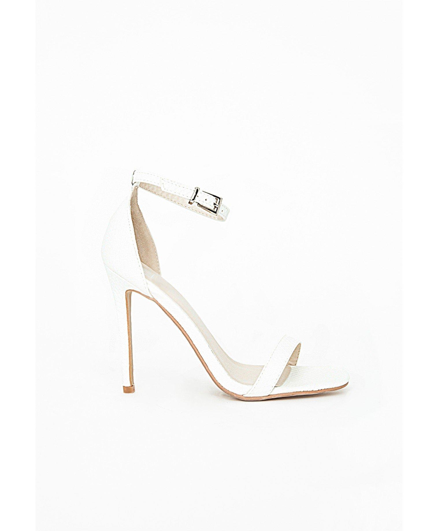 Missguided Clara Snakeskin White Strappy Sandals in White | Lyst