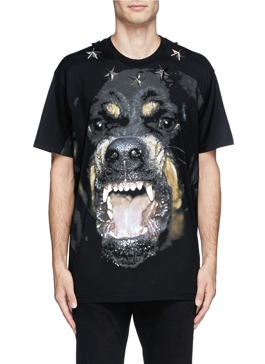 Lyst - Givenchy Rottweiler Print Star Stud T-shirt in Black for Men 479707616