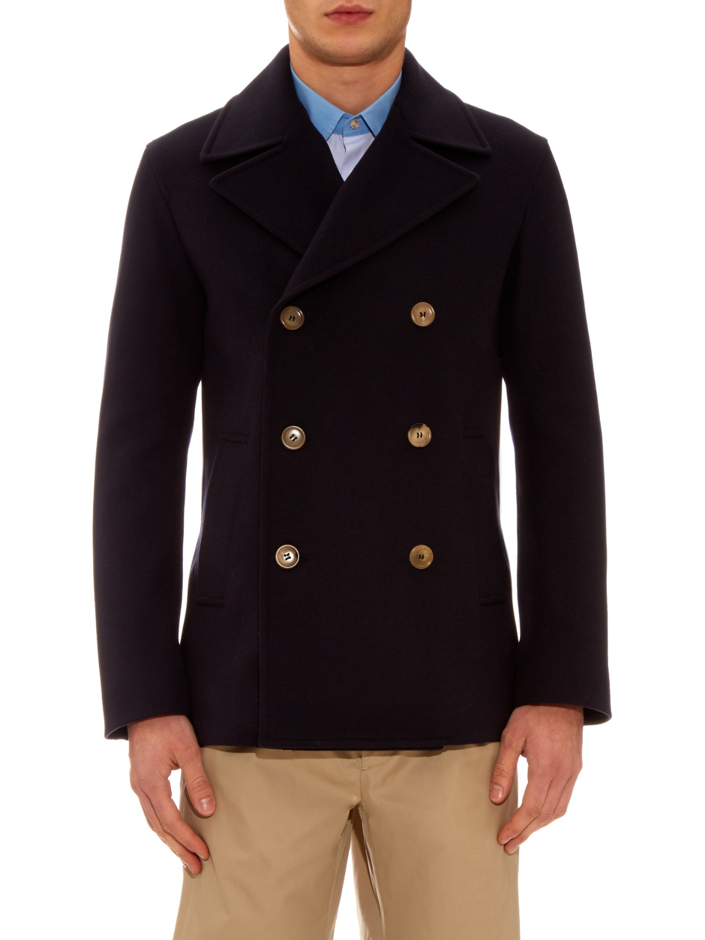 eb4c282c40a2 Lyst - Gucci Double-breasted Wool-felt Pea Coat in Blue for Men