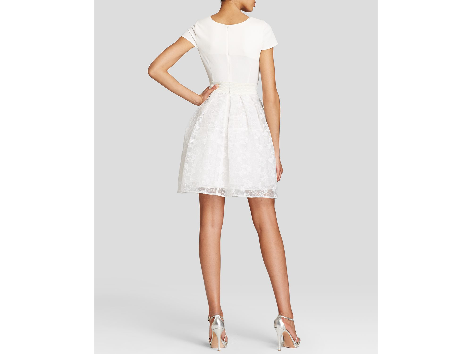 Tracy Reese Dress Cap Sleeve Fit And Flare In White Lyst