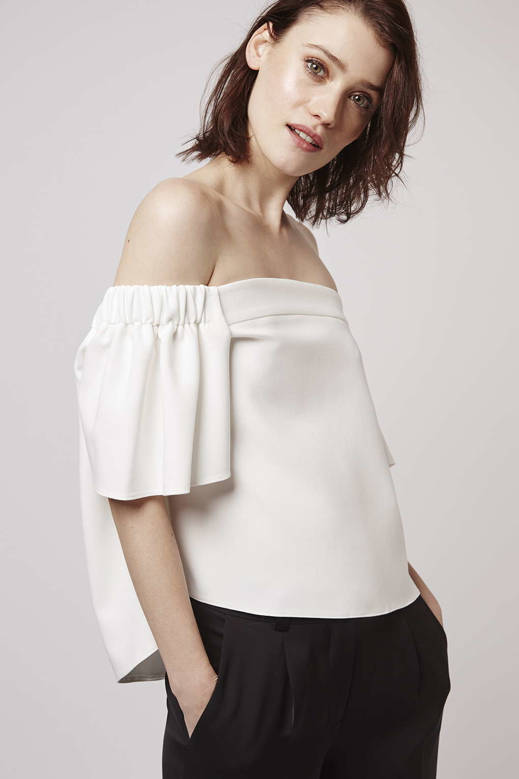 995daa3448692 Lyst - TOPSHOP Structured Bardot Top in White