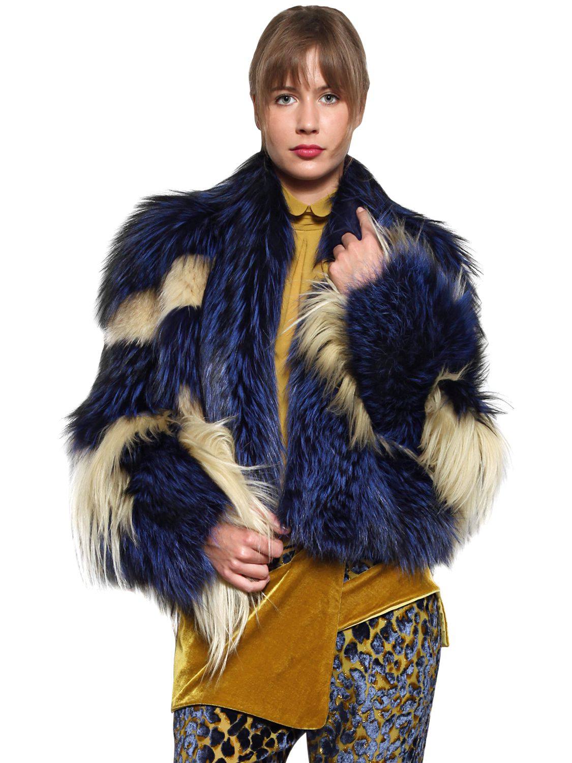 lyst just cavalli raccoon silver fox and goat fur coat in yellow. Black Bedroom Furniture Sets. Home Design Ideas