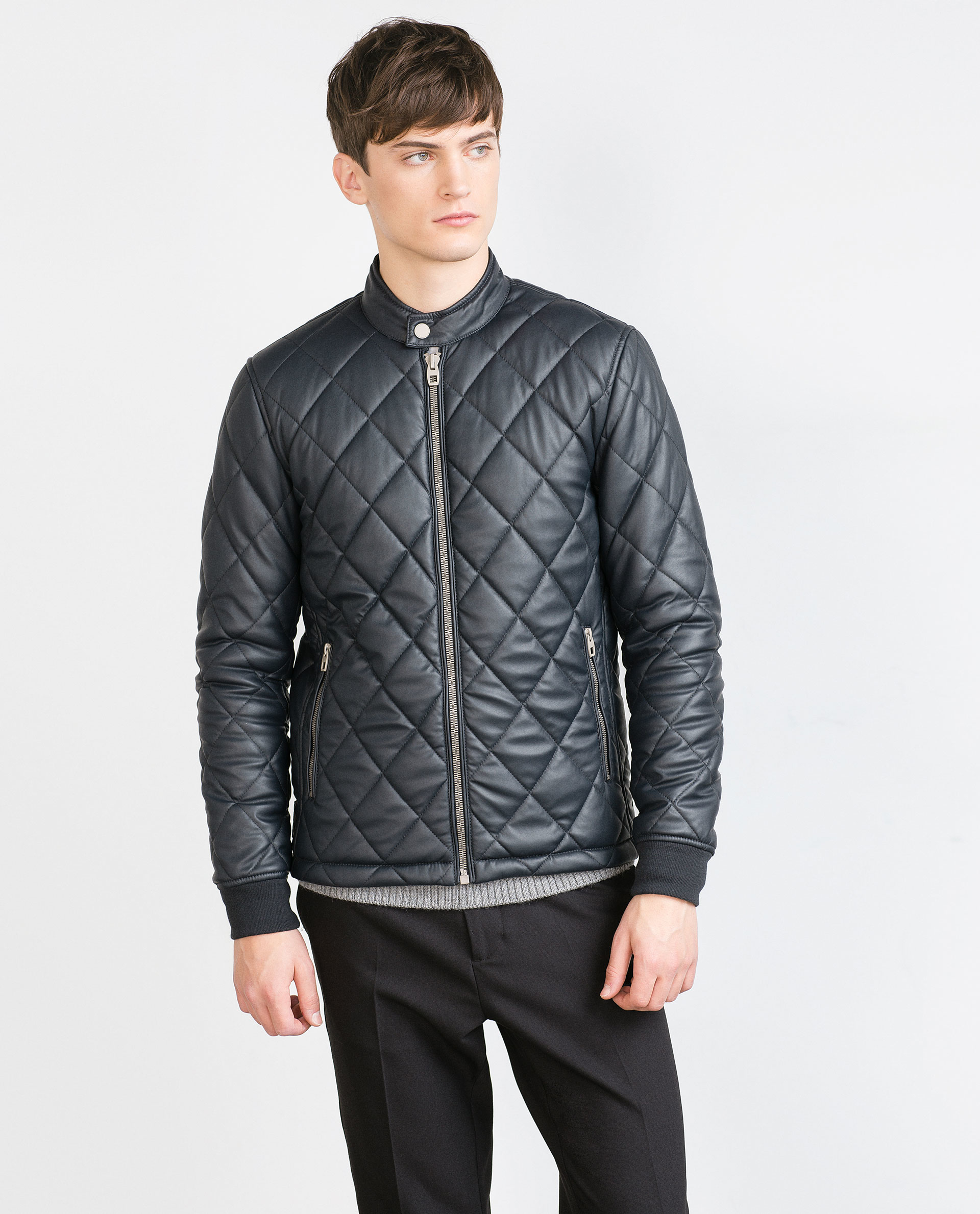 Zara mens quilted leather jacket