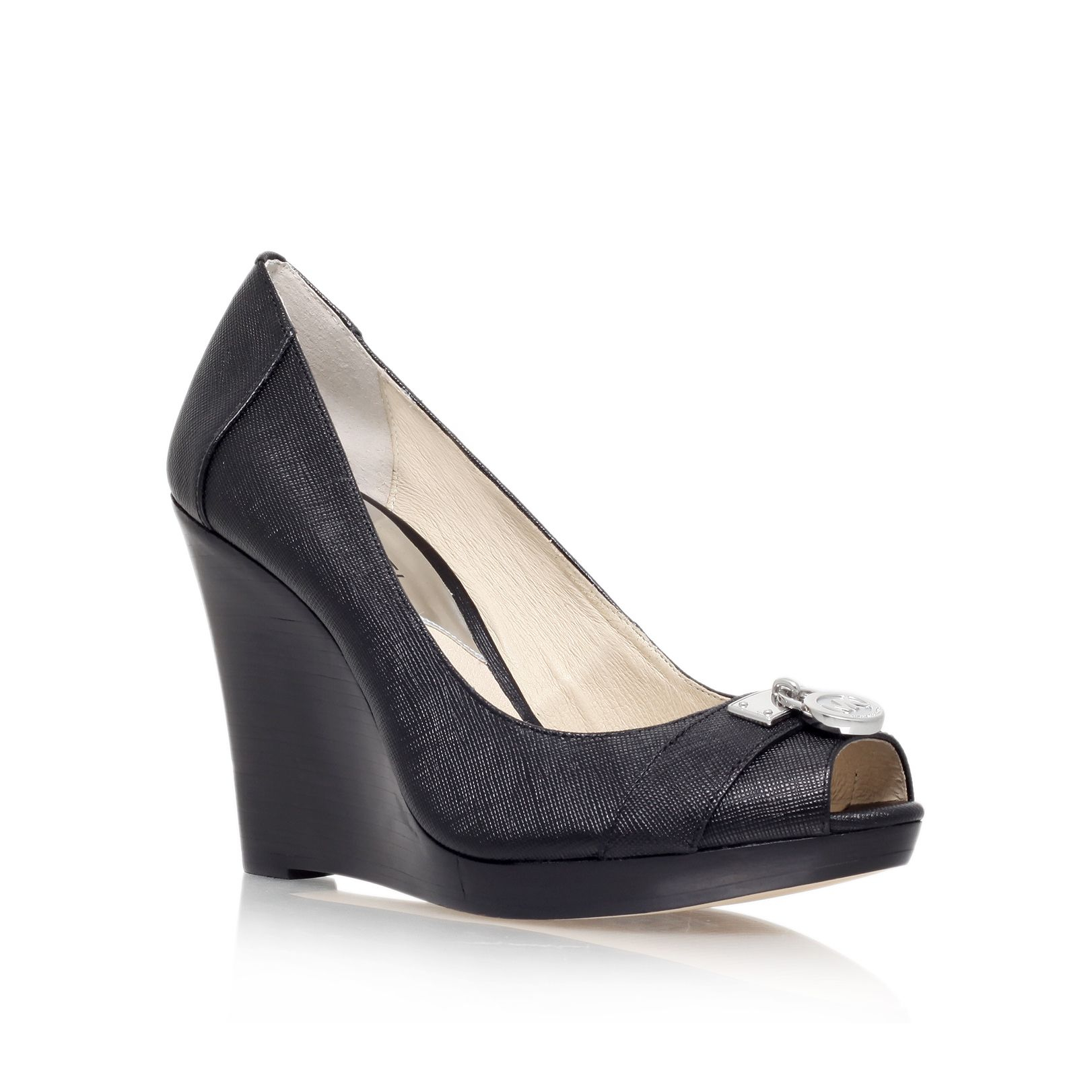 Michael Kors Hamilton Wedge Peep Toe Court Shoes In Black