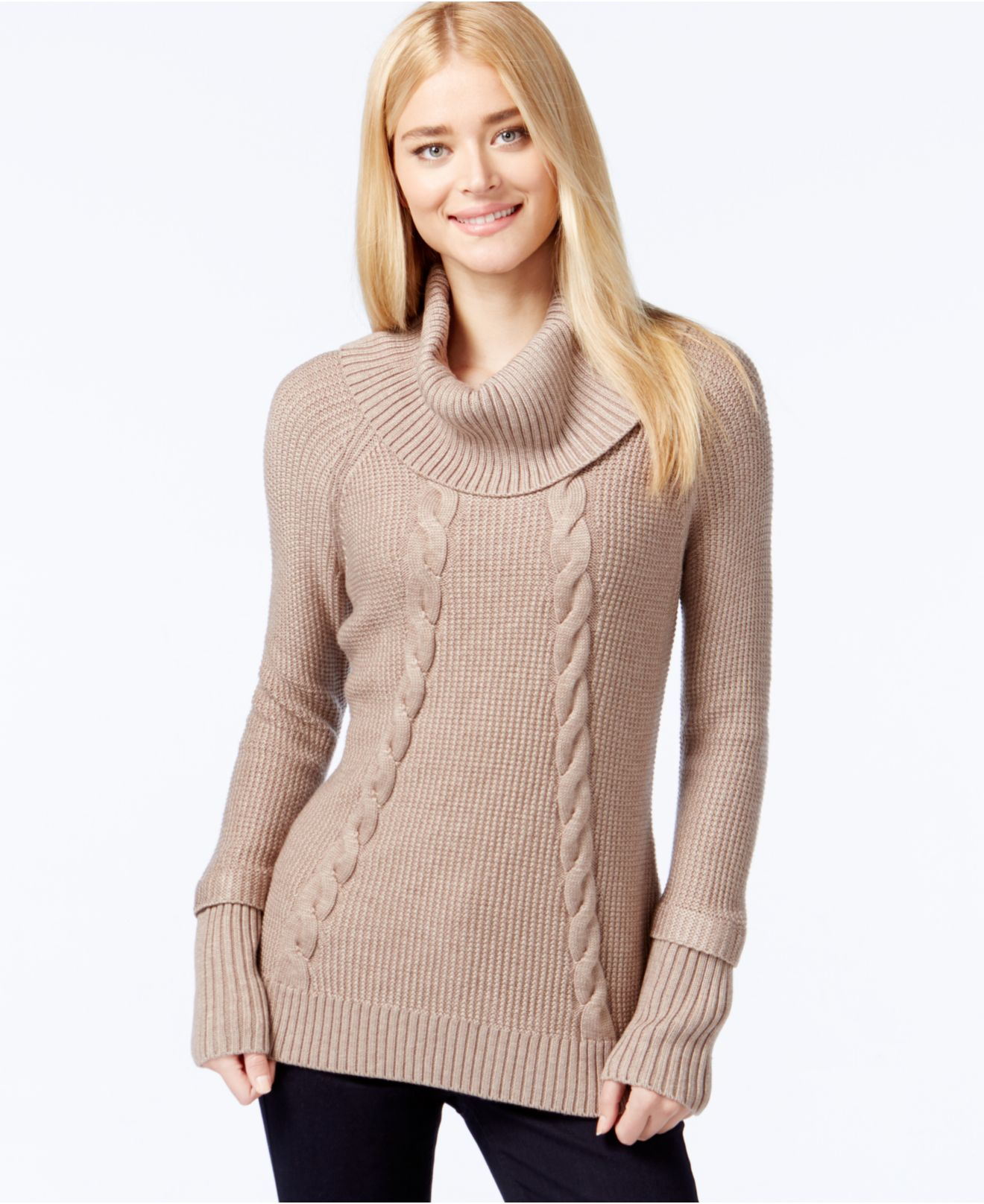 Calvin klein Cowl-neck Cable-knit Sweater in Brown | Lyst