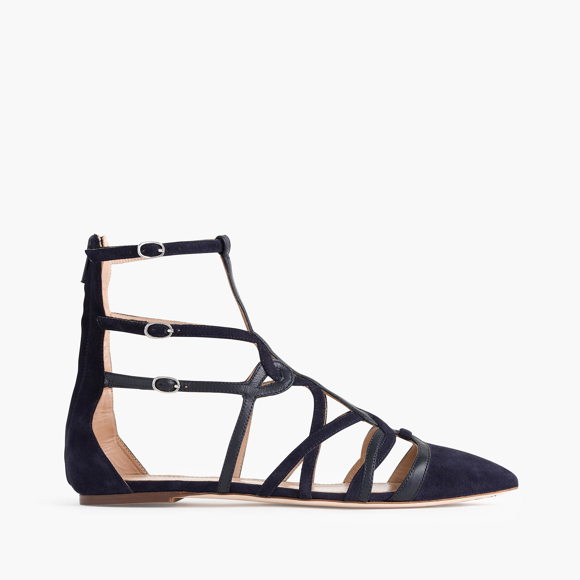 f00ceccf93efaa Lyst - J.Crew Collection Caged Gladiator Flats in Blue
