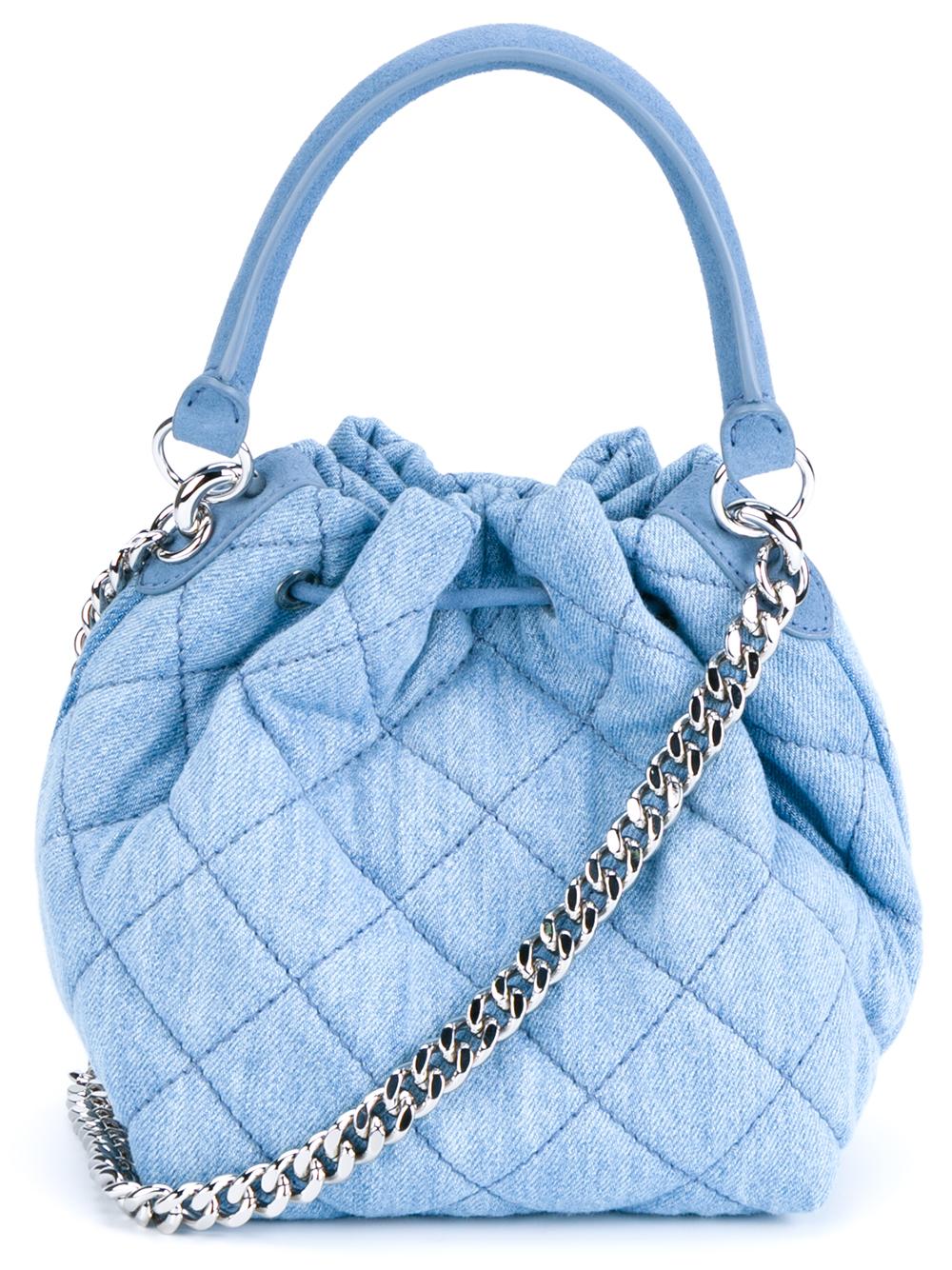 Lyst Stella Mccartney Beckett Quilted Denim Bucket Bag