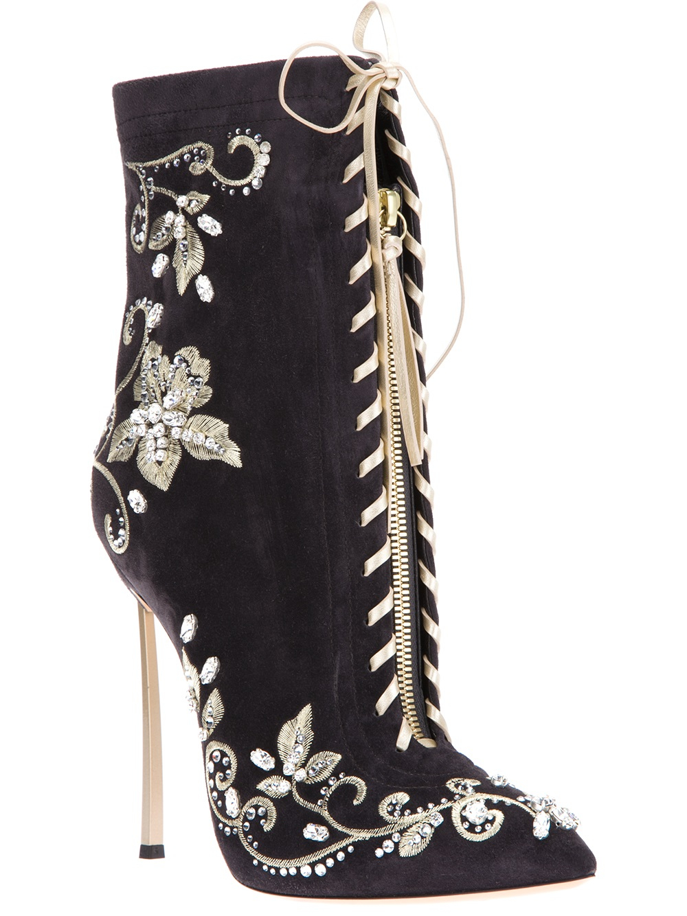 Lyst Casadei Laceup Stiletto Bootie In Black