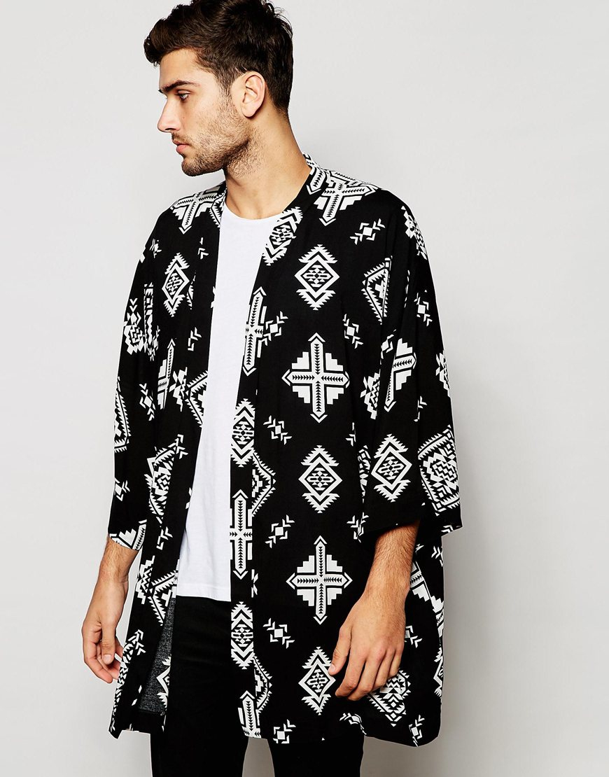 Asos Kimono With Ikat Print In Black In White For Men