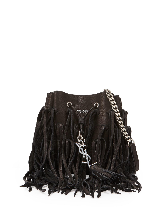 ysl bags outlet uk - emmanuel small studded fringe bucket bag, black