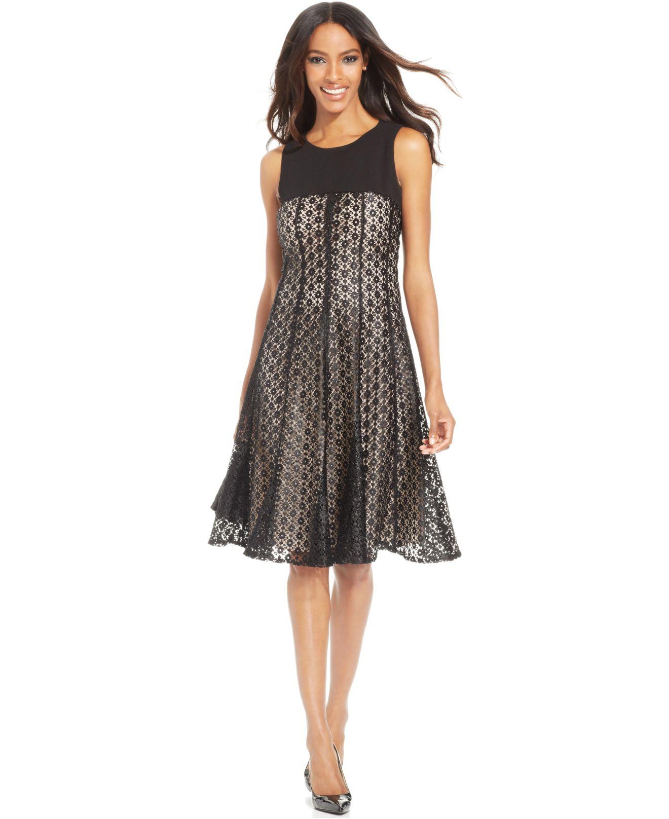 Anne Klein Petite Solid Yoke Lace Dress In Black Lyst