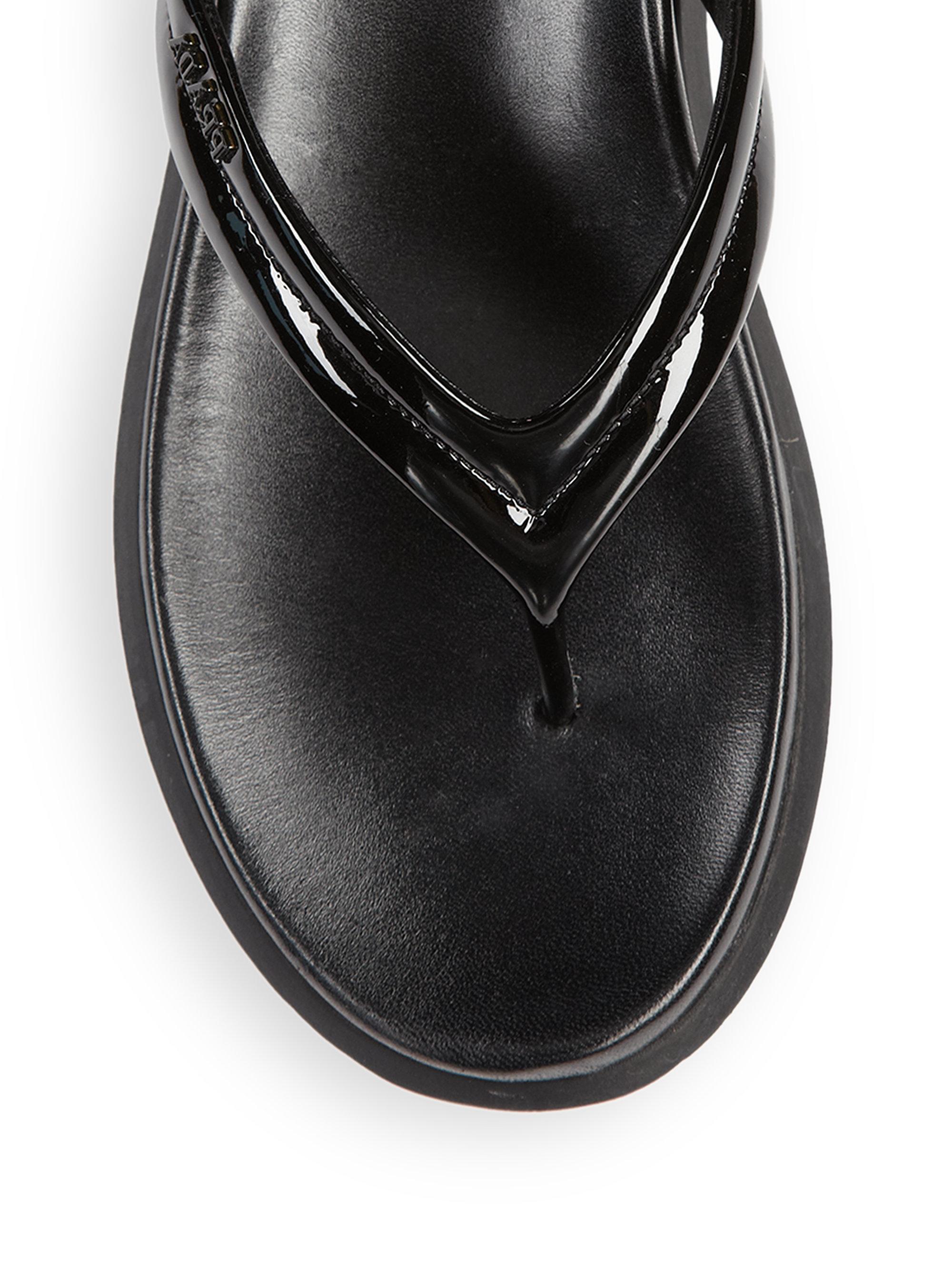 Prada Patent Leather Flip Flops In Black Lyst