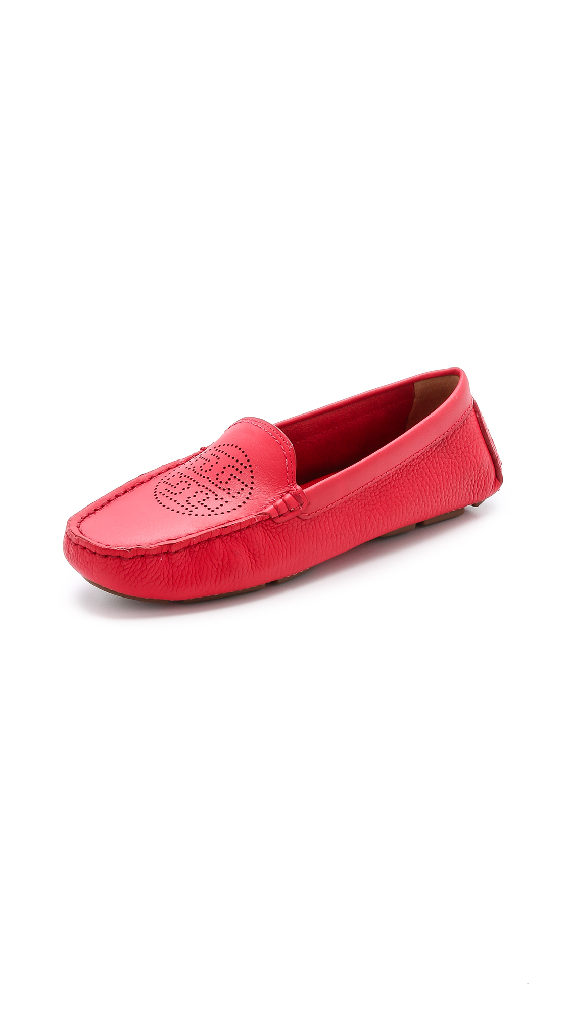 7637c4ae3a41 Lyst - Tory Burch Perforated Logo Driver Flats - Brilliant Red in Red