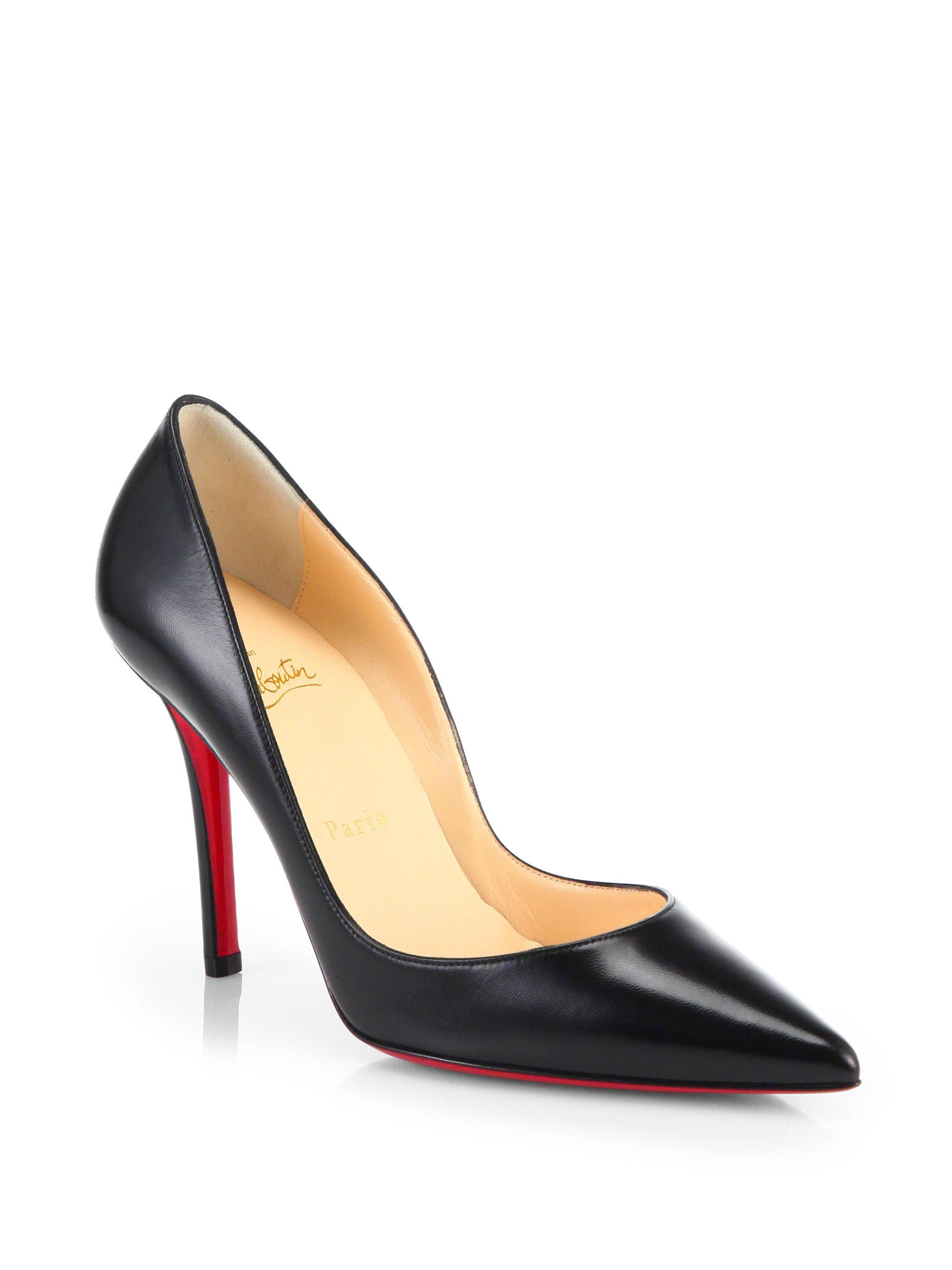 christian louboutin peep-toe wedges Black leather cork covered ...