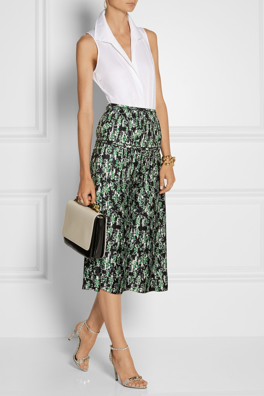 Marni Pleated Floral-Print Silk Midi Skirt in Green | Lyst