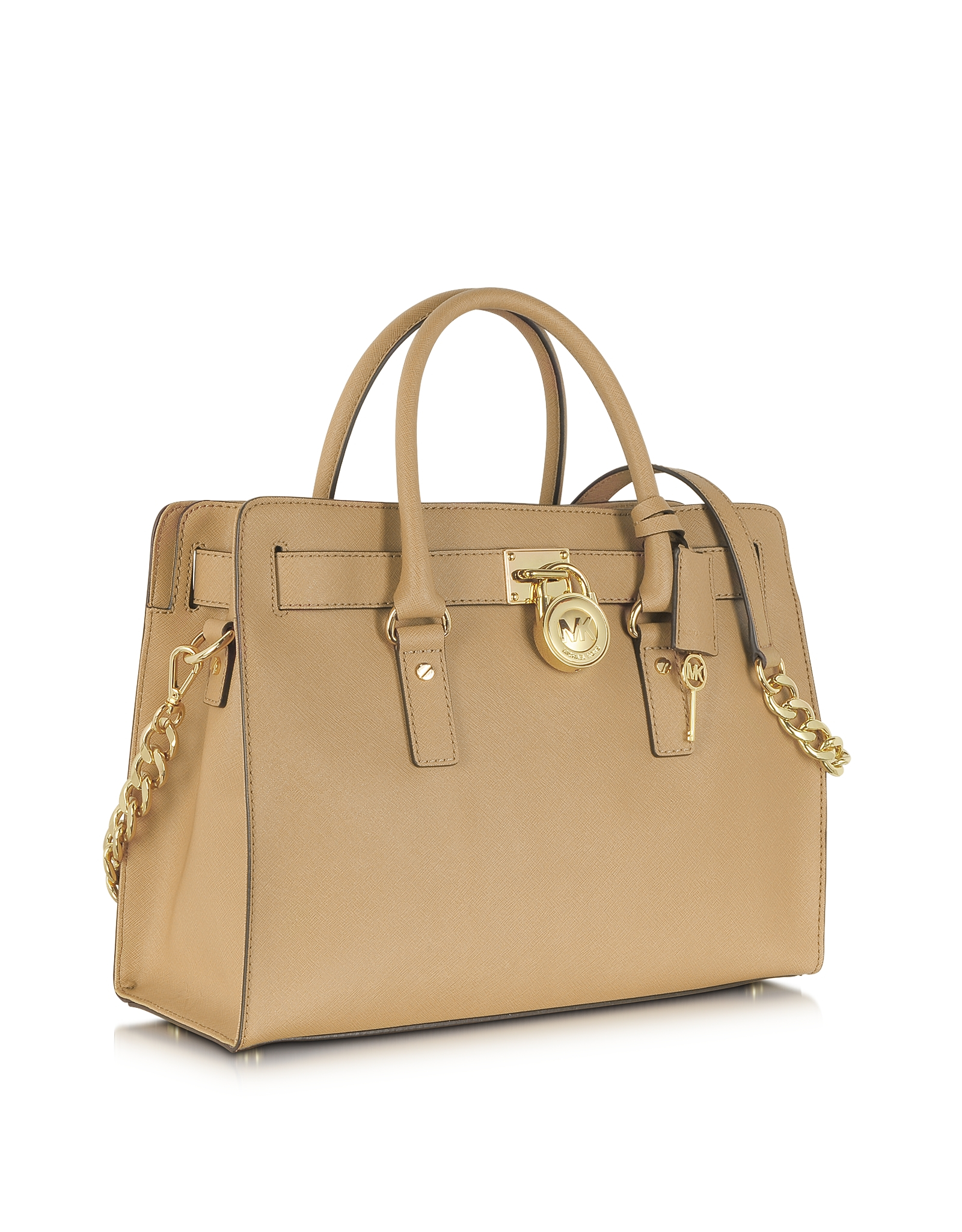 a0f9d9779790df ... leather satchel in brown ea9a2 c62bb; low price lyst michael kors  hamilton large dark khaki ew saffiano tote in 8e9ee 1470f
