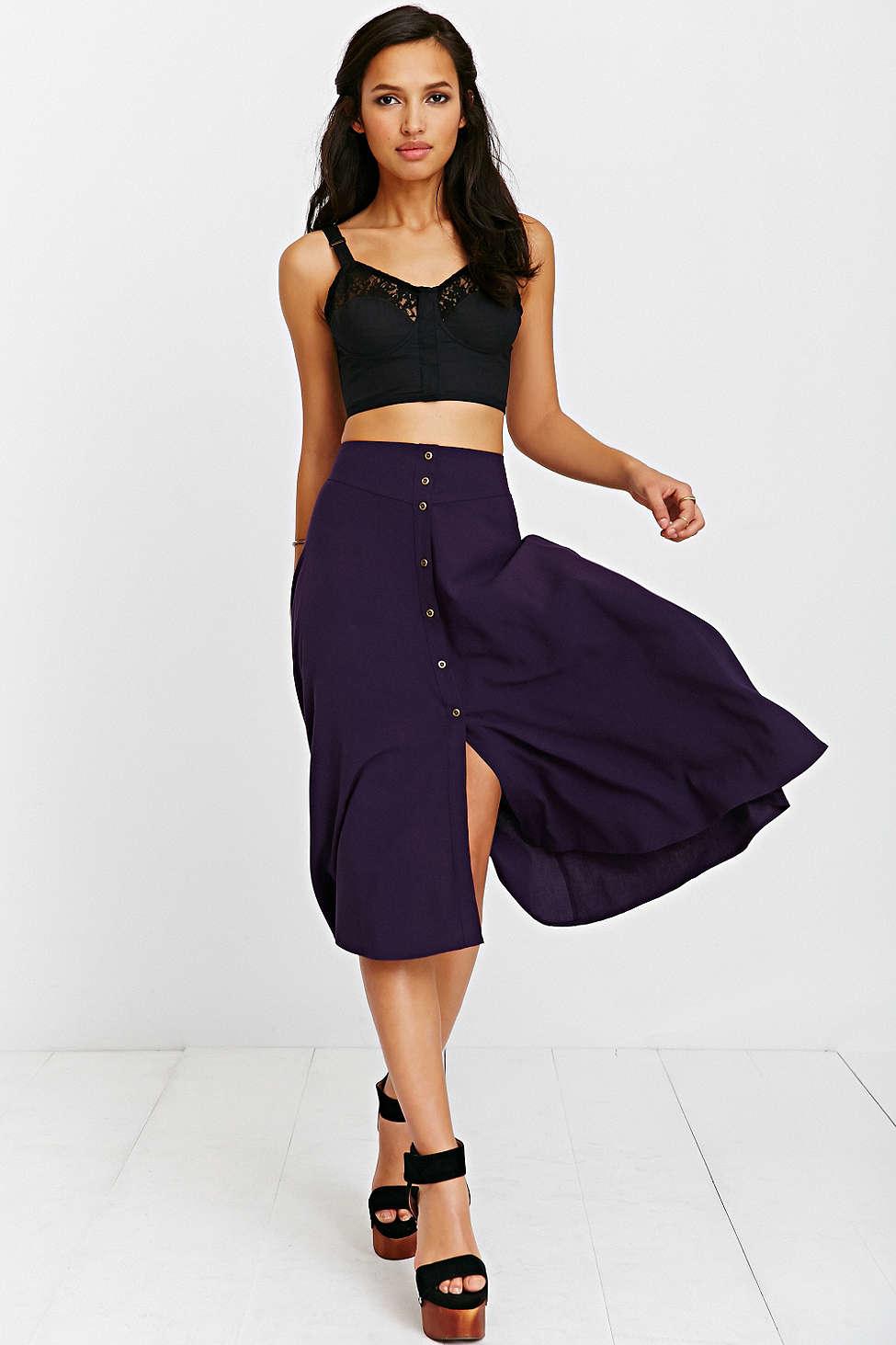 Ecote Button-down Midi Skirt in Purple | Lyst