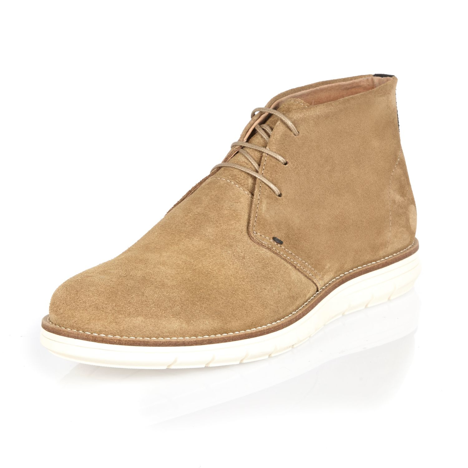 river island camel suede wedge chukka boots for lyst