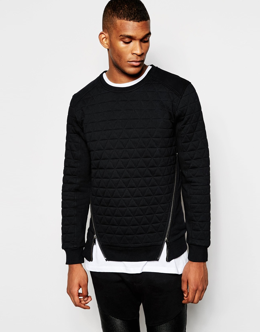 Lyst Black Kaviar Quilted Sweatshirt In Black For Men