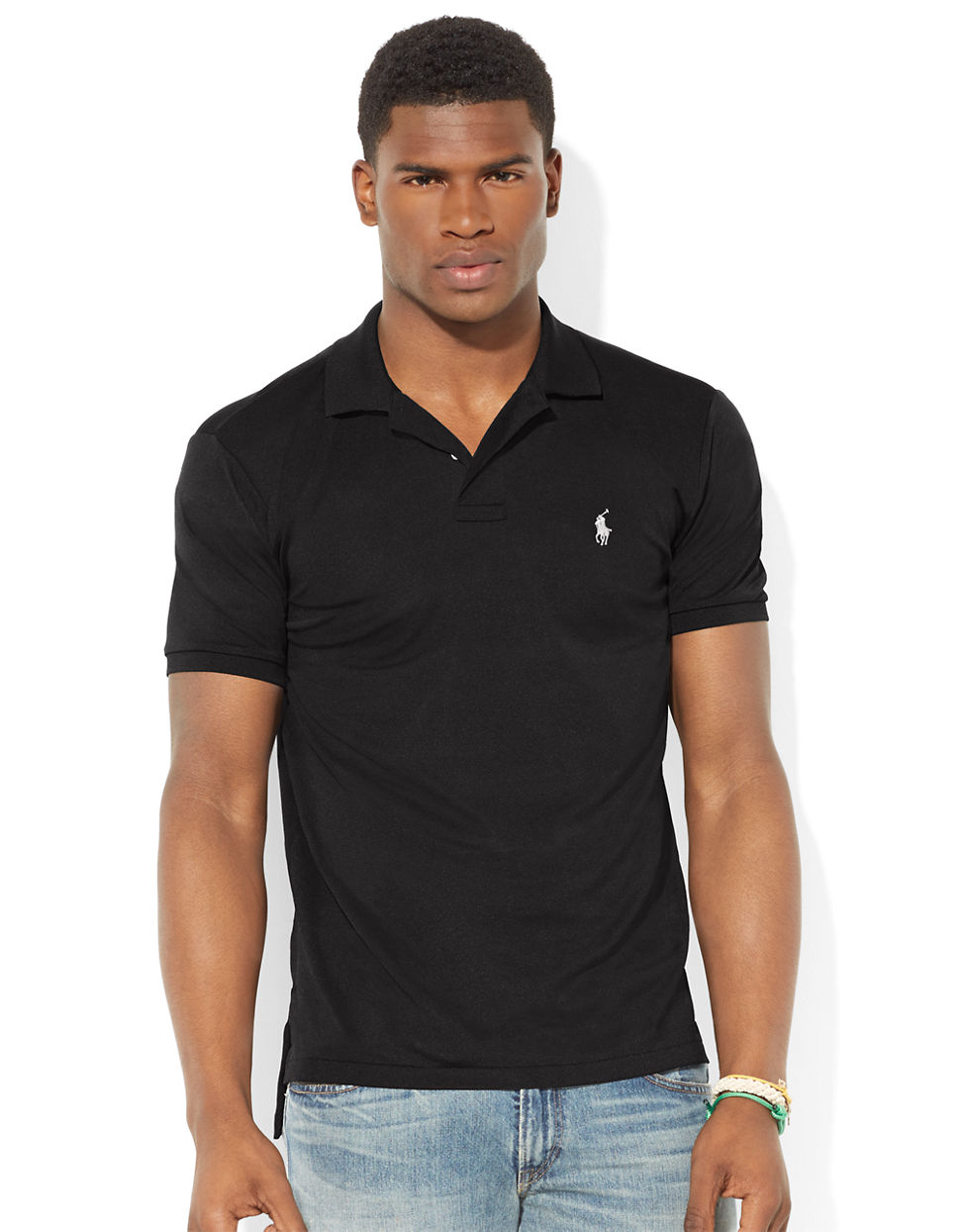 Polo ralph lauren performance mesh polo shirt in black for for Man in polo shirt