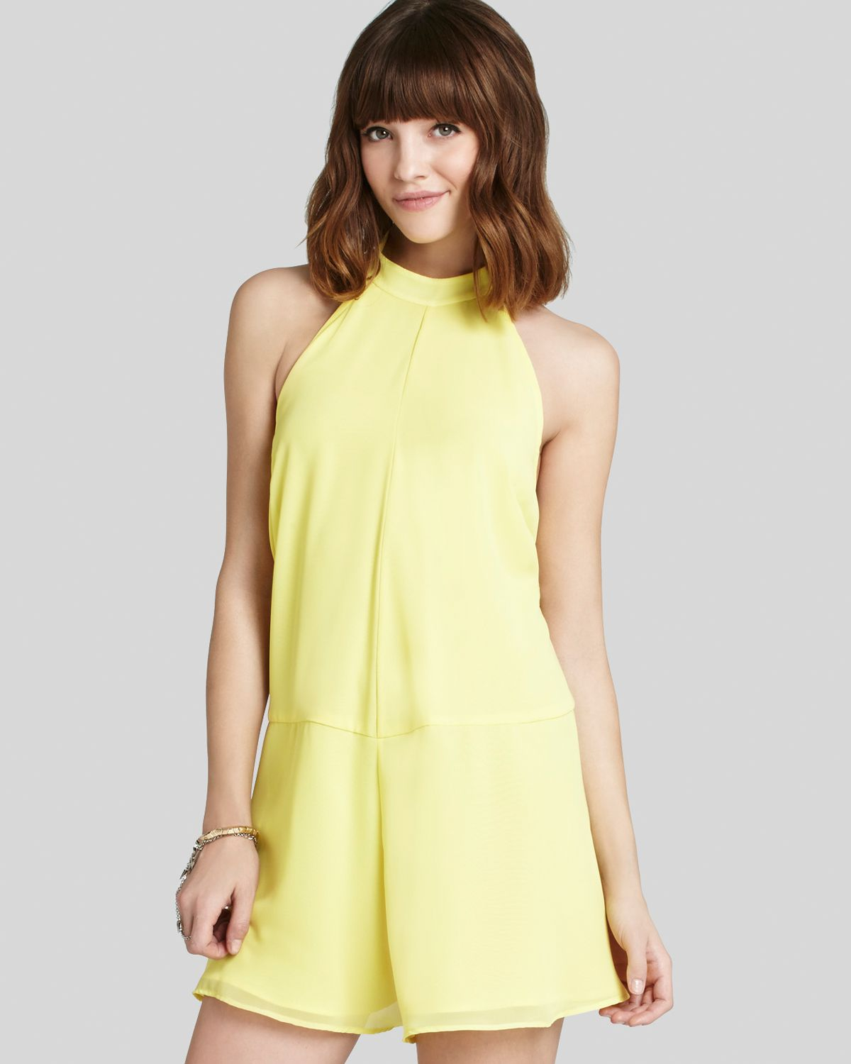 21dfc7084fa Lyst - BCBGeneration Romper Mock Neck in Yellow