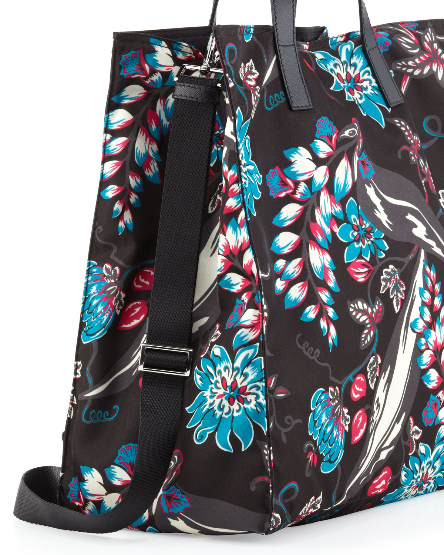 Prada Mens Floral Nylon Tote Bag in Multicolor for Men (Multi) | Lyst