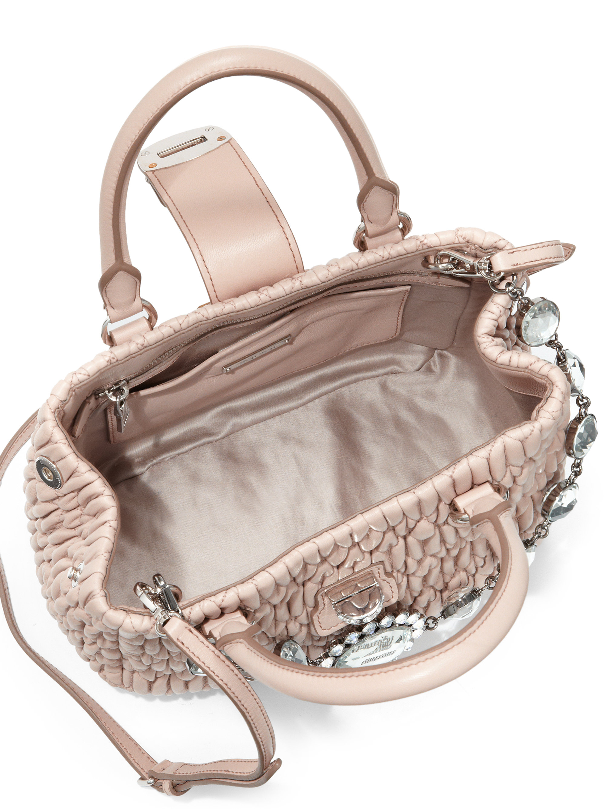 Lyst - Miu Miu Matelasse Quilted Leather Bucket Bag in Natural 02d9b07e5c110