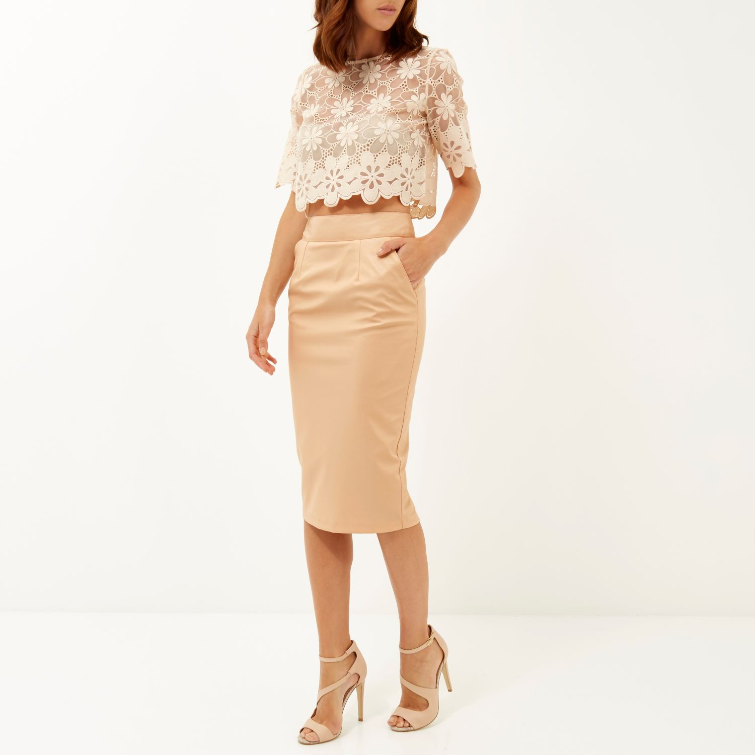 River island Peach Leather-look Pencil Skirt in Natural | Lyst