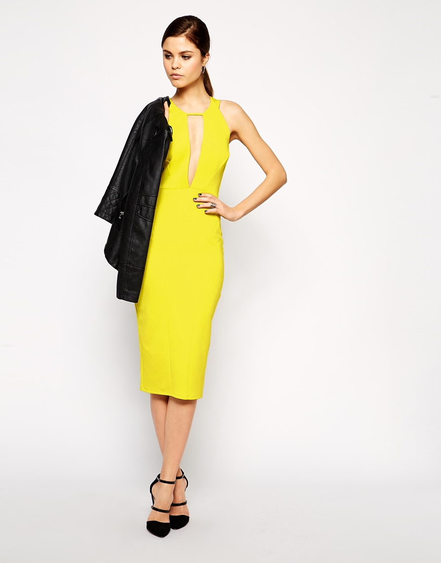 6244c6cffc Lyst - ASOS Ultra Plunge T-bar Scuba Pencil Dress in Yellow