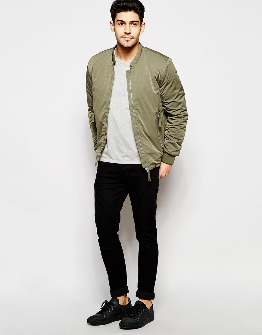 Selected Elected Homme Bomber Jacket in Green for Men | Lyst