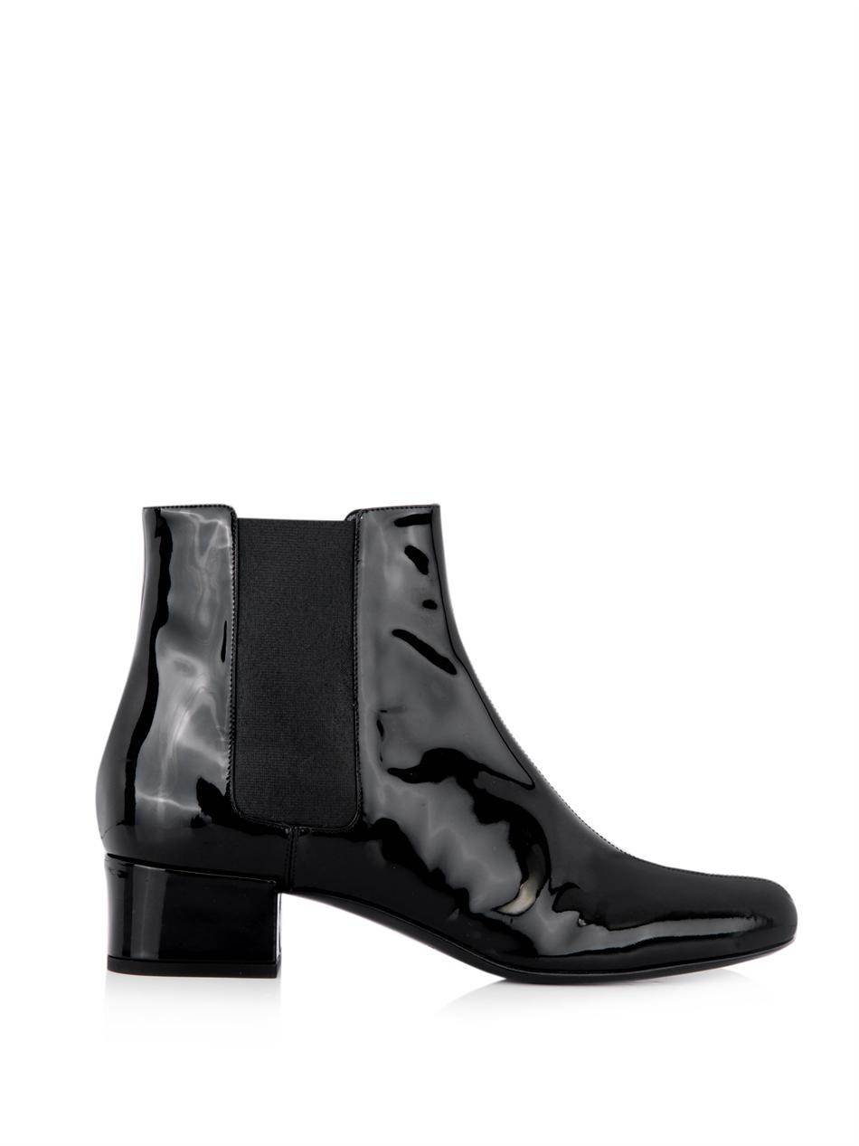 laurent babies patent leather chelsea boots in black