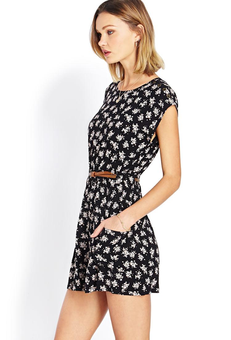Ditsy black floral dress