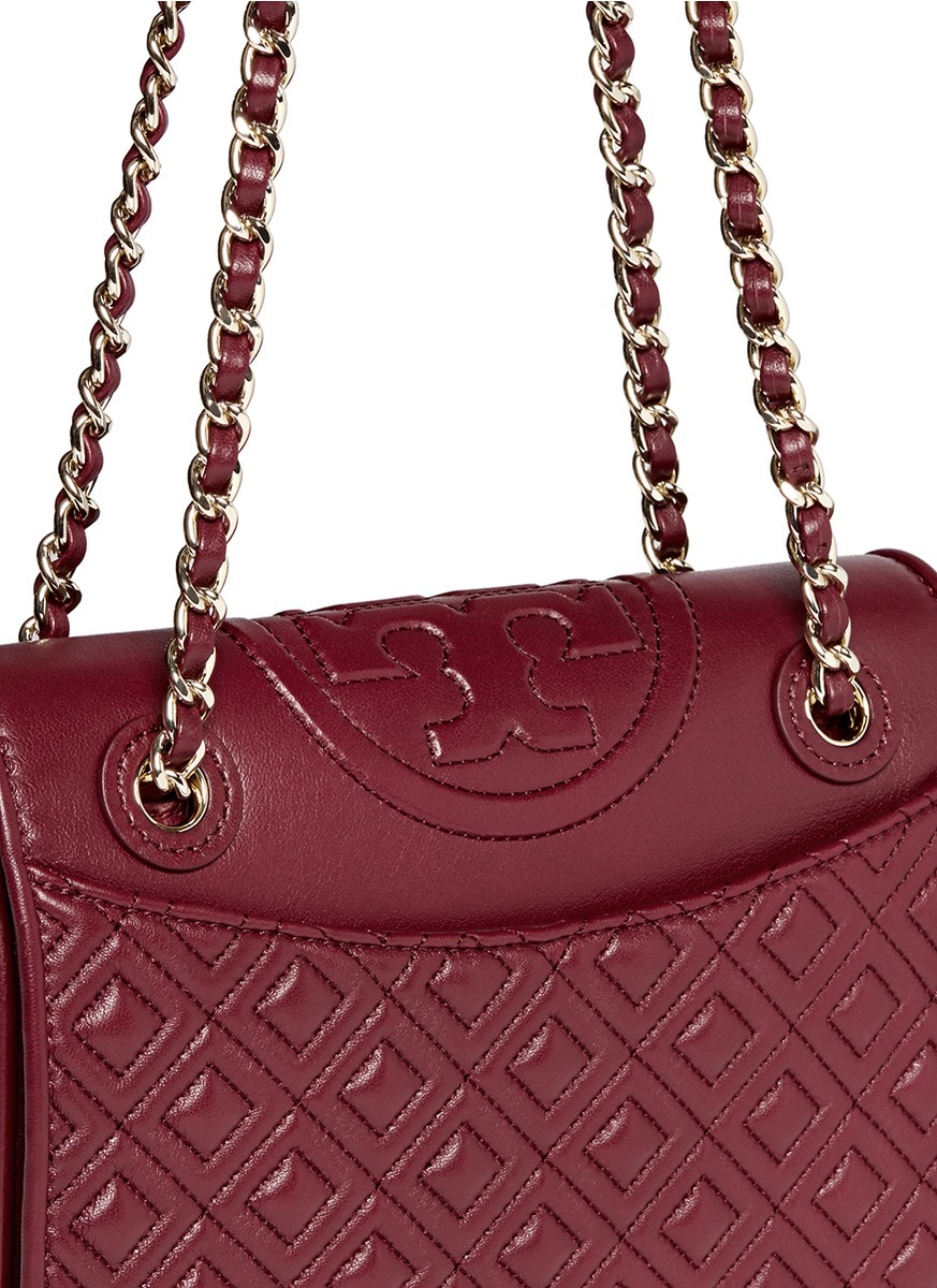Tory burch 'fleming' Medium Quilted Leather Bag in Red | Lyst