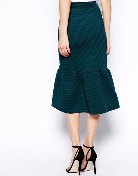 asos pencil skirt in rib with peplum hem in green lyst