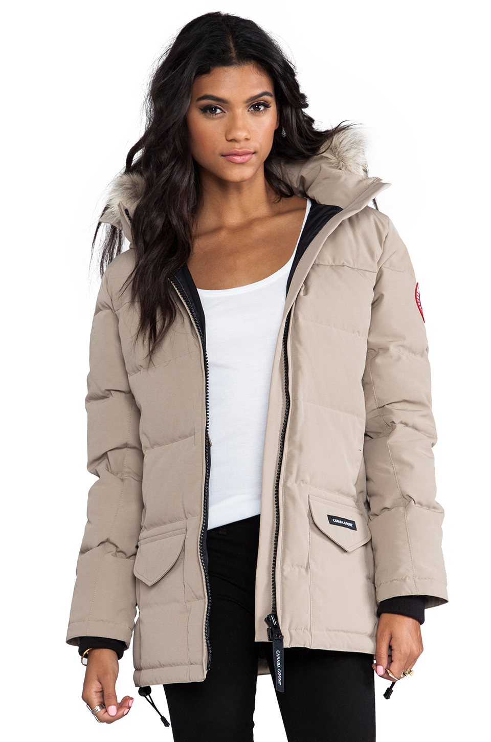 Canada Goose down online price - Canada goose Solaris Parka With Coyote Fur in Brown (Tan) | Lyst