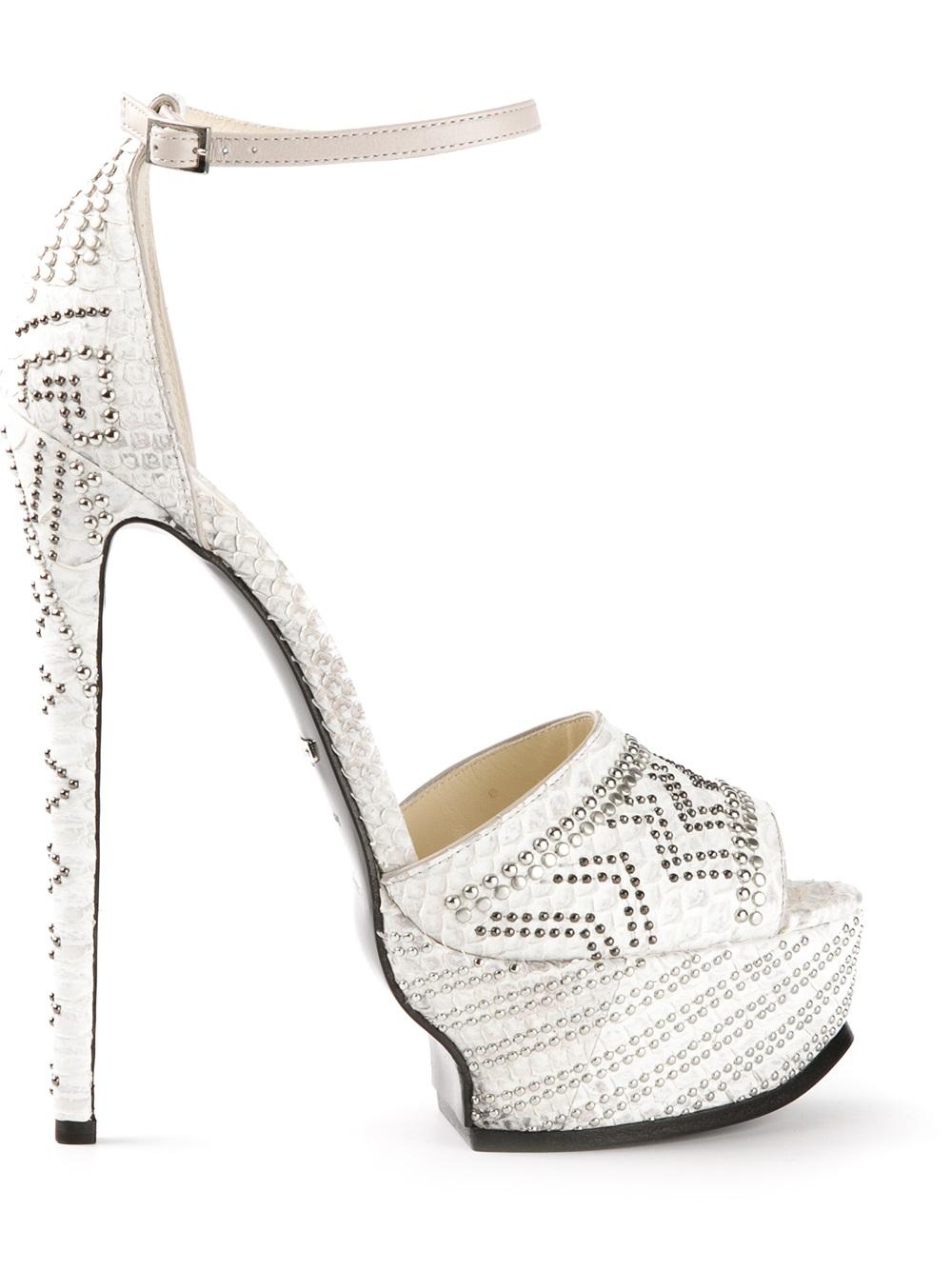 76a15c3706744 Roberto Cavalli Embellished Platform Sandals in White - Lyst