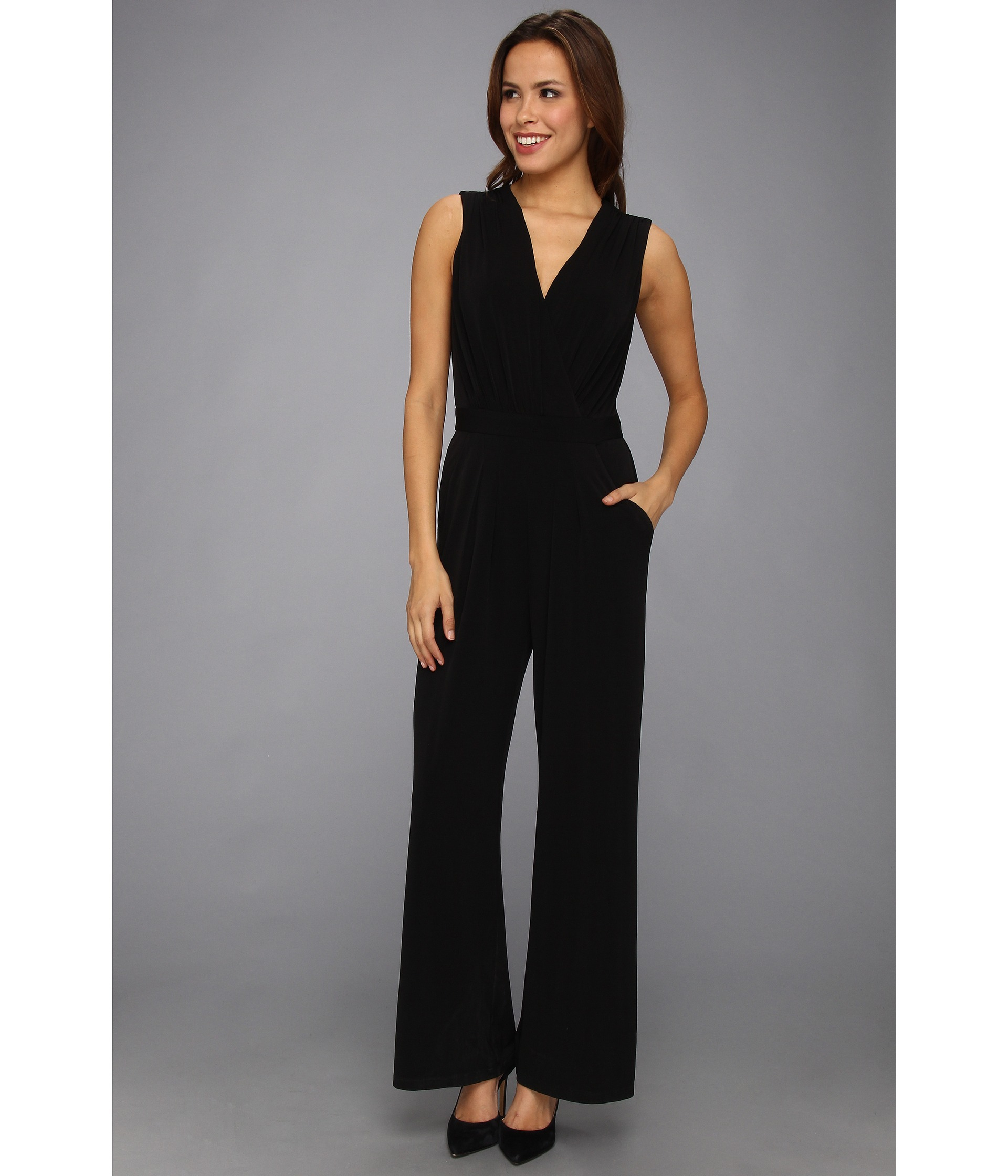 Lyst Vince Camuto Vneck Faux Wrap Jumpsuit Dress In Black