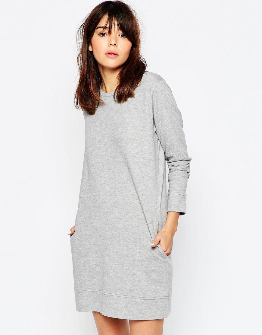 Asos sweat dress with pockets grey in gray lyst for How to not sweat through dress shirts