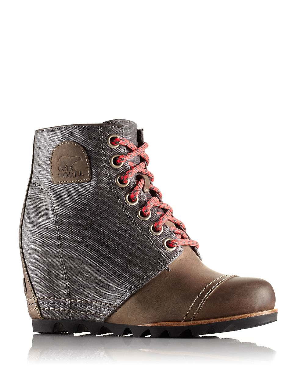 Sorel Lace Up Leather Wedges In Gray Lyst