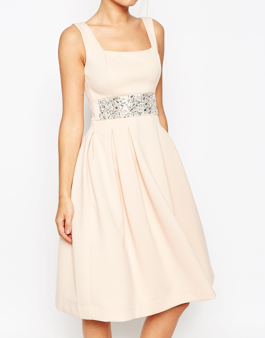 f1c0ff5f420a Lyst - ASOS Scuba Debutante Midi Dress With Embellished Waist in Pink