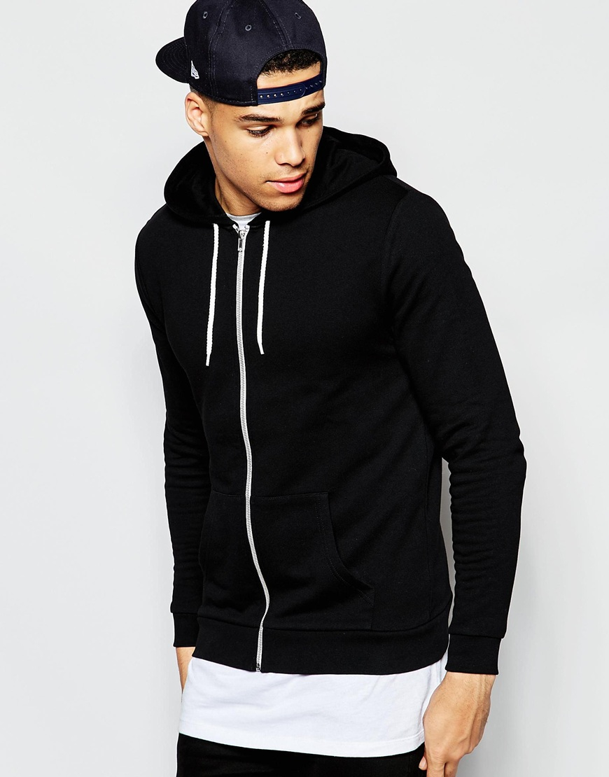 Asos Zip Up Hoodie In Black in Black for Men | Lyst