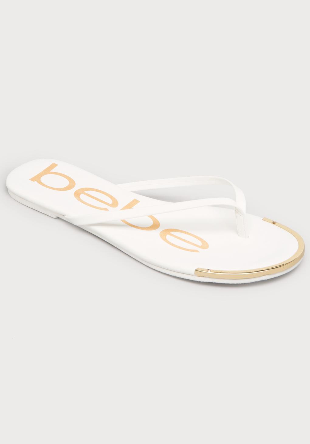 c537b898a Lyst - Bebe Ilana Logo Flip Flops in White