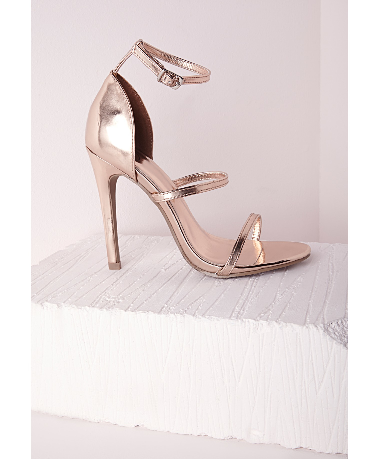 Missguided Three Strap Barely There Heeled Sandals Rose