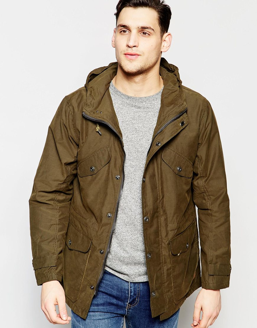 Lyst Lee Jeans Hooded Parka Waxed Cotton In Green In