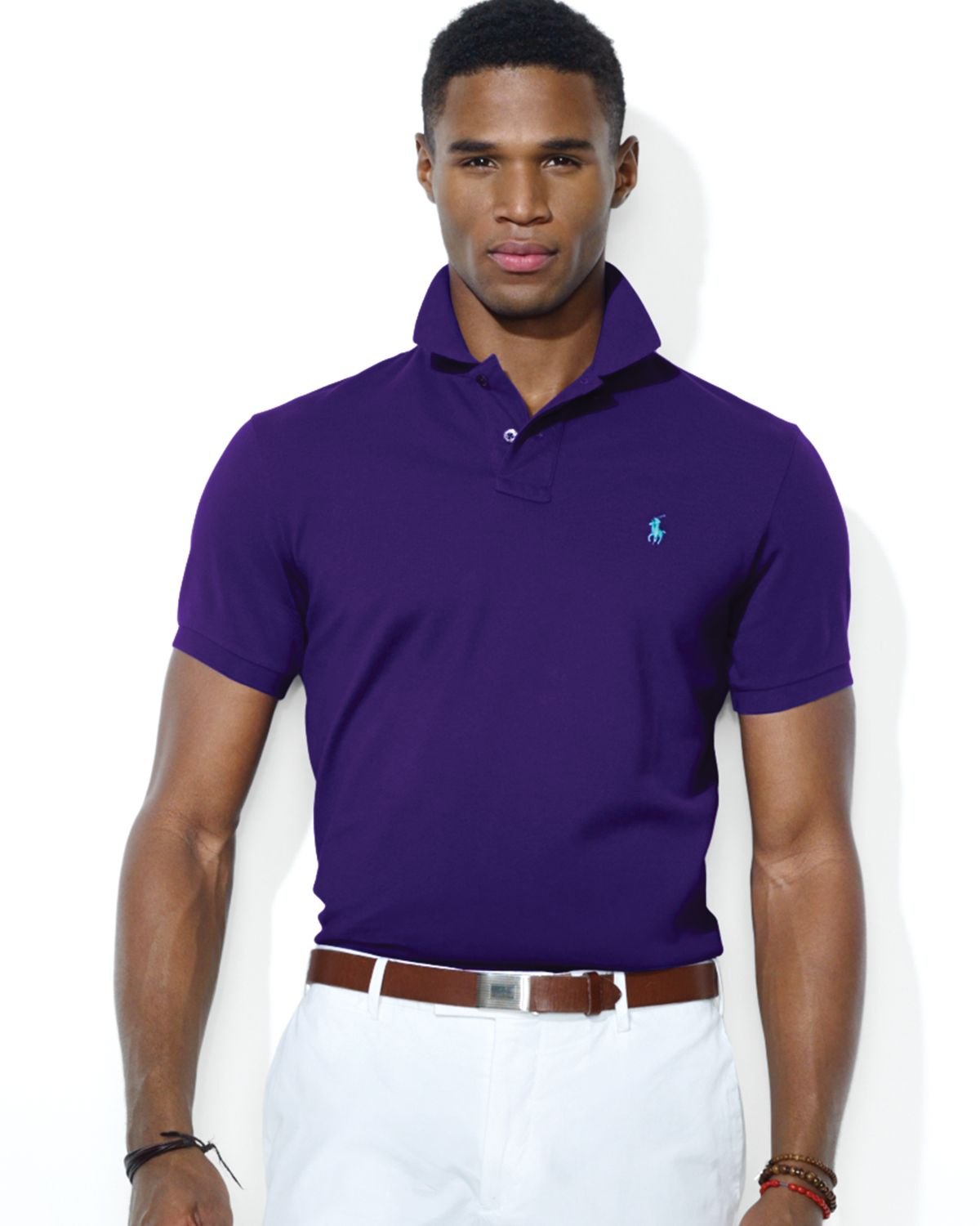 Polo ralph lauren men darkpurple custom fit mesh for Mens slim polo shirts